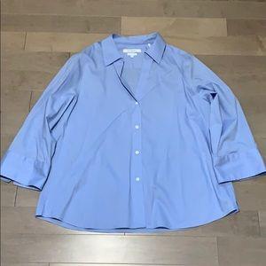 FOXCROFT Blue Button Down Non Iron Stretch Blouse